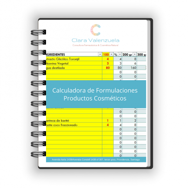 Calculadora de Formulaciones Productos Cosméticos